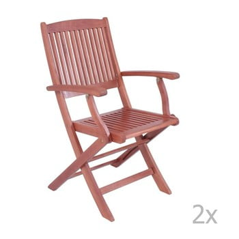 Set 2 scaune pliante de grădină din lemn de eucalipt cu cotiere ADDU Stockholm imagine