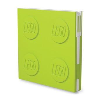 Jurnal pătrat cu pix cu gel LEGO®, 15,9 x 15,9 cm, verde deschis bonami.ro