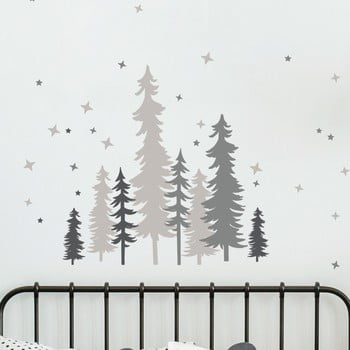 Autocolant de perete Ambiance Forest Trees With Stars poza bonami.ro