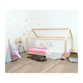 Pat pentru copii, din lemn natural de molid fără bariere de protecție laterale Benlemi Tery, 120 x 80 cm imagine
