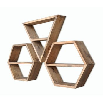 Set 3 rafturi din lemn Hexa bonami.ro