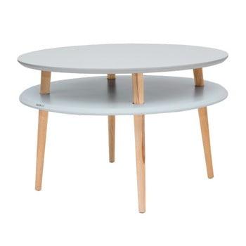 Masă de cafea cu picioare din lemn Ragaba UFO, Ø 70 cm, gri deschis imagine