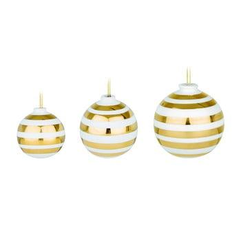 Set 3 globuri de Crăciun din ceramică Kähler Design Omaggio, alb-auriu bonami.ro