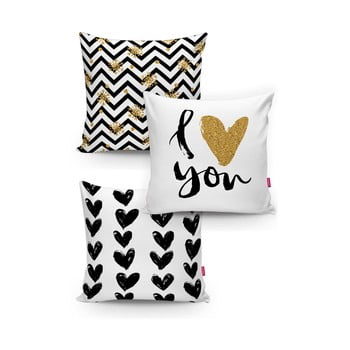 Set 3 fețe de pernă Minimalist Cushion Covers BW With Hint Of Gold, 45 x 45 cm poza bonami.ro