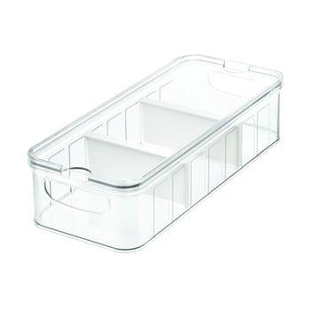 Cutie depozitare transparentă cu capac și 3 compartimente iDesign, 38x16cm poza bonami.ro