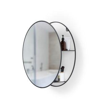 Oglindă rotundă de perete cu raft metalic Umbra Cirko, negru bonami.ro
