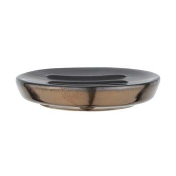 Săpunieră ceramică Wenko Polaris, gri mat - auriu poza bonami.ro