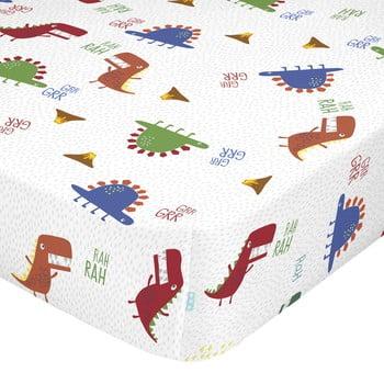 Cearșaf din bumbac pentru copii Moshi Moshi Funnysaurus,90x200cm bonami.ro