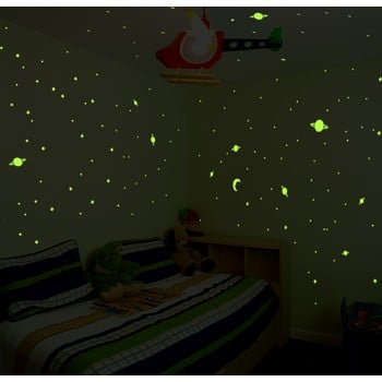 Set autocolante fosforescente de perete Ambiance Universe, 150 buc. poza bonami.ro