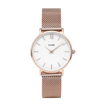 Ceas damă, curea din oţel inoxidabil Clus Minuit, roz - auriu imagine