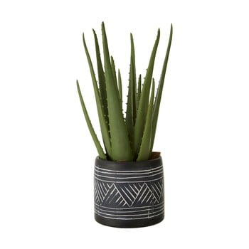 Aloe vera artificială în ghiveci din ceramică negru - alb Premier Housewares Fiori poza bonami.ro