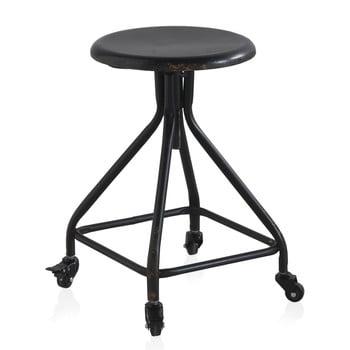 Scaun din metal cu roți și înălțime reglabilă Geese Industrial Style, negru imagine