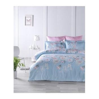 Lenjerie de pat din bumbac satinat și cearșaf Cielo, 200 x 220 cm imagine