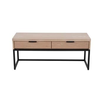 Masă TV cu 2 sertare din lemn de frasin și bază metalică Canett Cara, lățime 43 cm poza bonami.ro