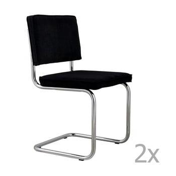 Set 2 scaune Zuiver Ridge Rib, negru imagine