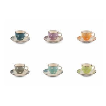 Set 6 cești din gresie pentru espresso cu farfurioară Villa d'Este Tazone, multicolor bonami.ro