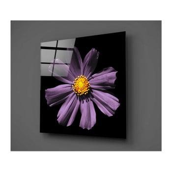 Tablou din sticlă Insigne Flowerina, 30 x 30 cm, negru-lila bonami.ro