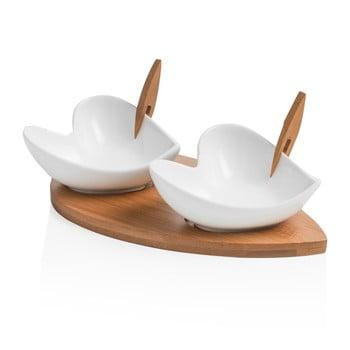 Set 2 boluri pentru servit cu tocător și 2 scobitori decorative Brandani Coeur Blanc bonami.ro