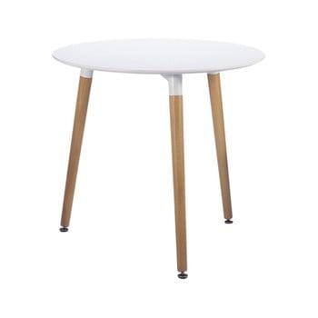 Masă dining Leitmotiv Elementary, ø 80cm, alb-natural imagine
