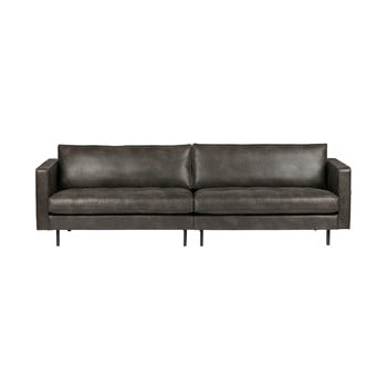 Canapea cu 3 locuri din piele reciclată BePureHome Rodeo, negru imagine
