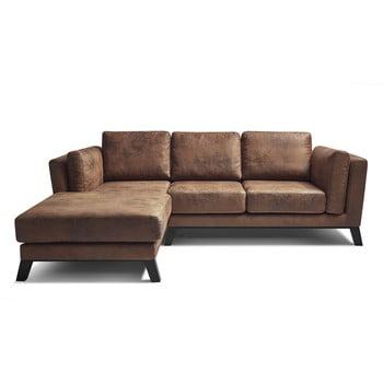 Canapea cu extensie pe partea stângă cu husă din imitație de piele Bobochic Paris Seattle Vintage, maro poza bonami.ro