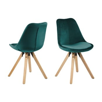 Set 2 scaune Actona Dima Velvet, verde - albastru bonami.ro