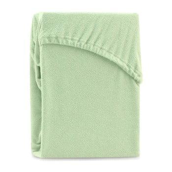 Cearșaf elastic pentru pat dublu AmeliaHome Ruby Siesta, 180-200 x 200 cm, verde deschis poza bonami.ro