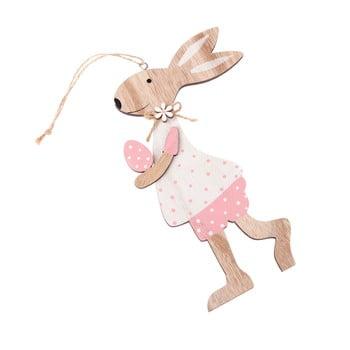 Iepure decorativ din lemn, pentru agățat Dakls Pink Dress poza bonami.ro
