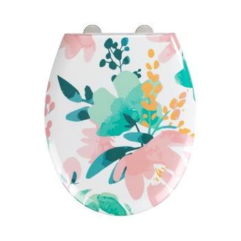 Capac WC cu închidere lentă Wenko Easy Flowery, 44,5 x 37 cm poza bonami.ro