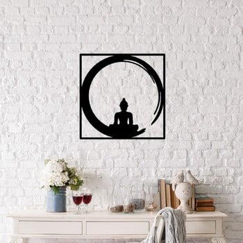 Decorațiune metalică de perete Buddha, 50 x 50 cm, negru poza bonami.ro