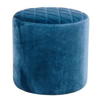 Puf cu tapițerie de catifea House Nordic Ejby, ø 34 cm, albastru bonami.ro