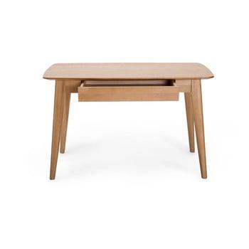 Birou cu sertar și picioare din lemn de stejar Unique Furniture Rho,120x60cm bonami.ro