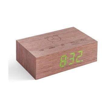 Ceas deșteptător cu LED Gingko Flip Click, maro închis bonami.ro