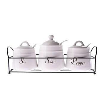 Set 3 recipiente din ceramică pentru condimente, Dakls, 430 ml, alb bonami.ro