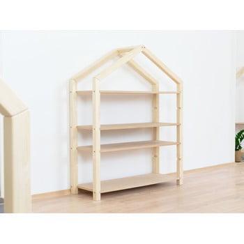 Bibliotecă din lemn tip căsuță cu rafturi bej BenlemiPolly, 111x137cm imagine