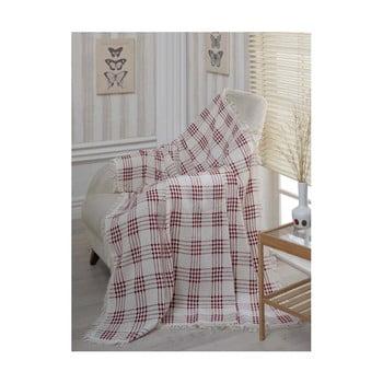 Pătură din bumbac Dokuma Red, 180 x 230 cm poza bonami.ro