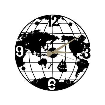Ceas de perete Globe Clock, ⌀ 50 cm, negru poza bonami.ro