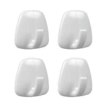 Set 4 cârlige autoadezive din plastic Metaltex John, alb bonami.ro