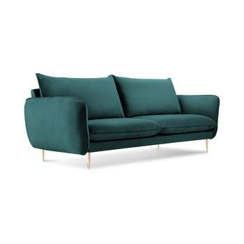 Canapea cu tapițerie din catifea Cosmopolitan Design Florence, verde petrol, 160 cm imagine