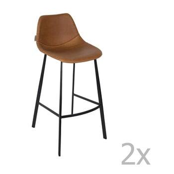 Set 2 scaune bar Dutchbone Franky, înălțime 106 cm, maro bonami.ro