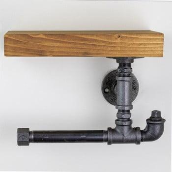 Suport din lemn de perete, pentru hârtia de toaletă Viliam poza bonami.ro