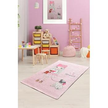 Covor antiderapant pentru copii Chilai Best Friend,100x160cm, roz poza bonami.ro