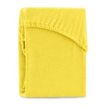 Cearșaf elastic pentru pat dublu AmeliaHome Ruby Siesta, 220-240 x 220 cm, galben bonami.ro