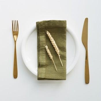 Set 2 șervete din in Linen Tales, verde măsliniu bonami.ro