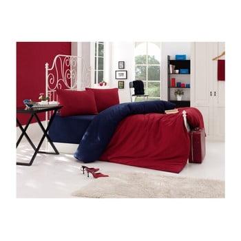 Lenjerie de pat cu cearșaf pentru pat dublu EnLora Home, 200 x 220 cm, albastru - roșu bonami.ro