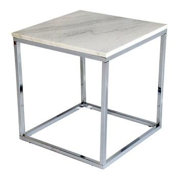 Măsuță auxiliară cu blat din marmură albă și structură cromată, lățime 50 cm imagine
