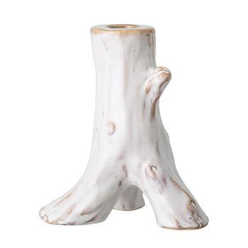 Suport lumânare din gresie ceramică Bloomingville Stump, alb bonami.ro