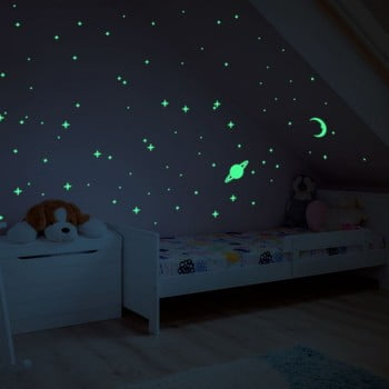 Autocolant fosforescent pentru perete Ambiance Moon and Planets bonami.ro