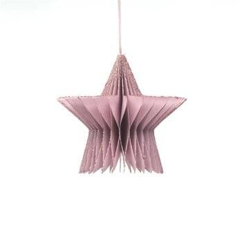 Decorațiune din hârtie pentru Crăciun, formă stea Only Natural, lungime 7,5 cm, roz auriu bonami.ro