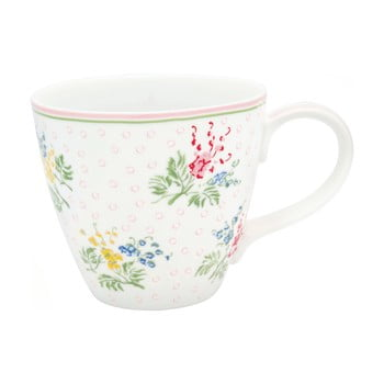 Cană din gresie ceramică Green Gate Mira, 300 ml, alb, motive florale bonami.ro